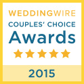 We are very proud to have won the WeddingWire Couples' Choice Awards(R) for 2015