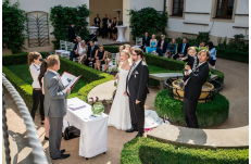 Wedding in Prague Old Monastery Garden at the Augustine Hotel